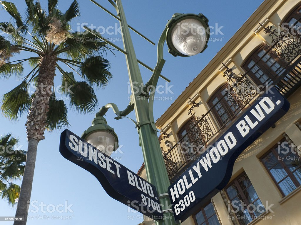 Sunset and Hollywood Boulevard Street Sign stock photo