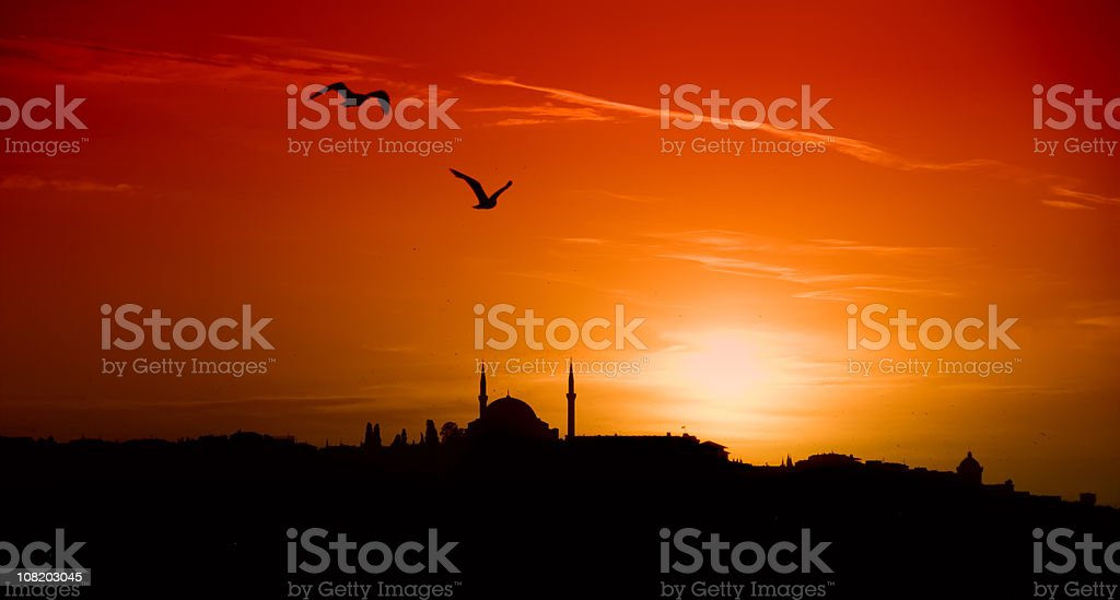Sunset and Istanbul royalty-free stock photo
