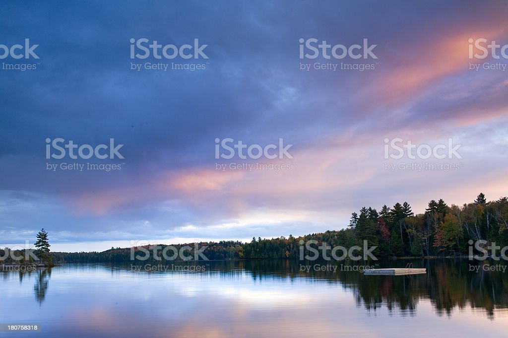 Sunset and lakefront stock photo