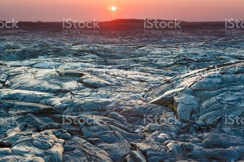 Sunset and  lava landscape stock photo