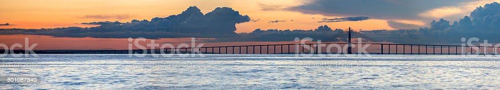 Sunset and Manaus Iranduba Bridge over the Amazon, Brazil stock photo
