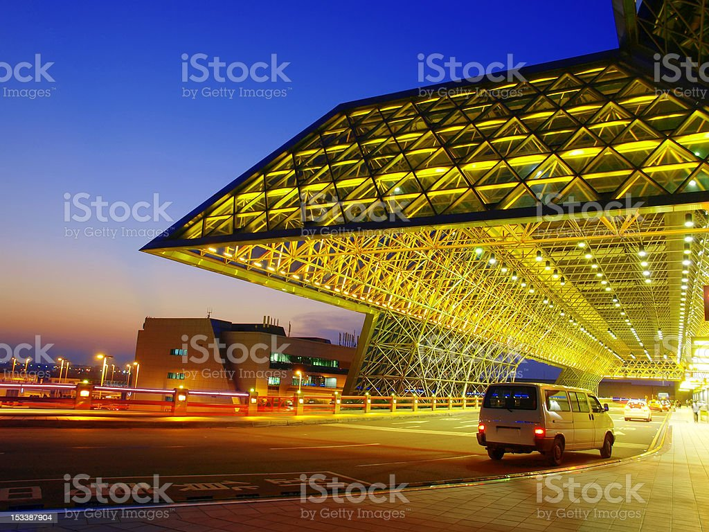 Sunset and modern building royalty-free stock photo