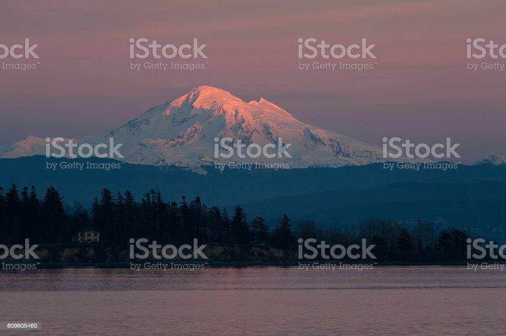 Sunset and Mt. Baker, Washington stock photo