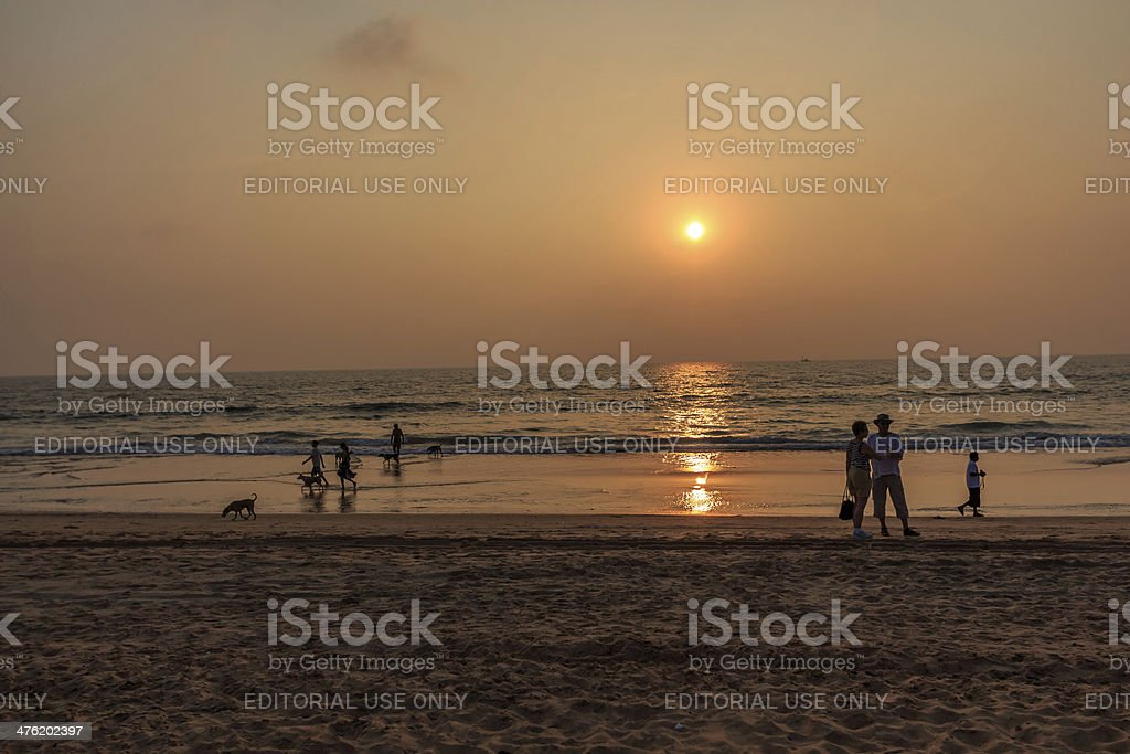sunset and people stock photo