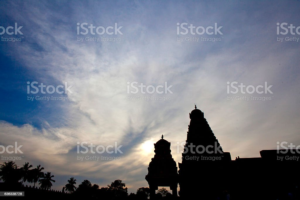 Sunset and rihadeeswarar Temple stock photo