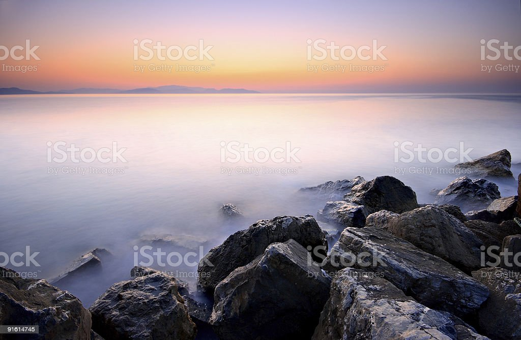 Sunset and Rocks royalty-free stock photo