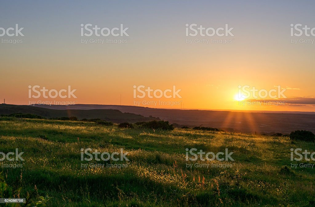 HDR Sunset and Rolling Hills stock photo