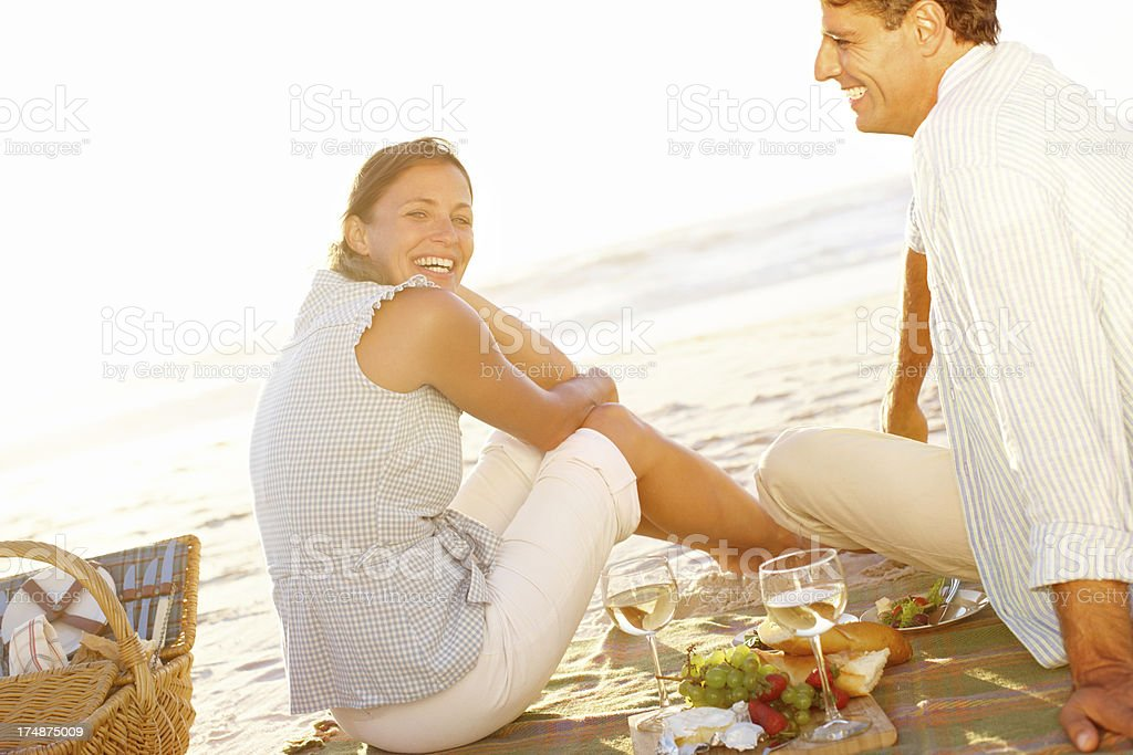Sunset and romance on the beach royalty-free stock photo