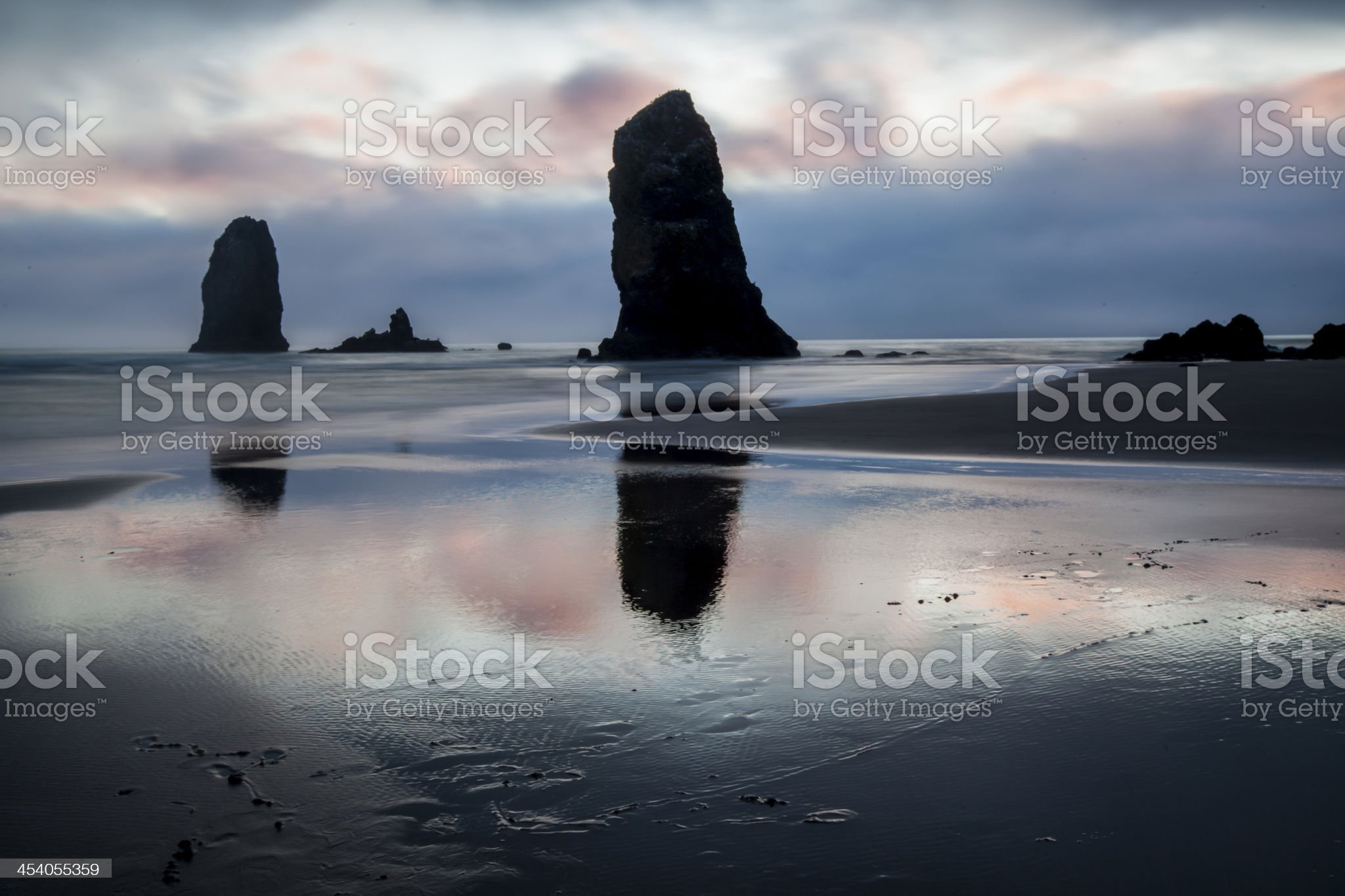 Sunset and Sea Stacks on Cannon Beach royalty-free stock photo