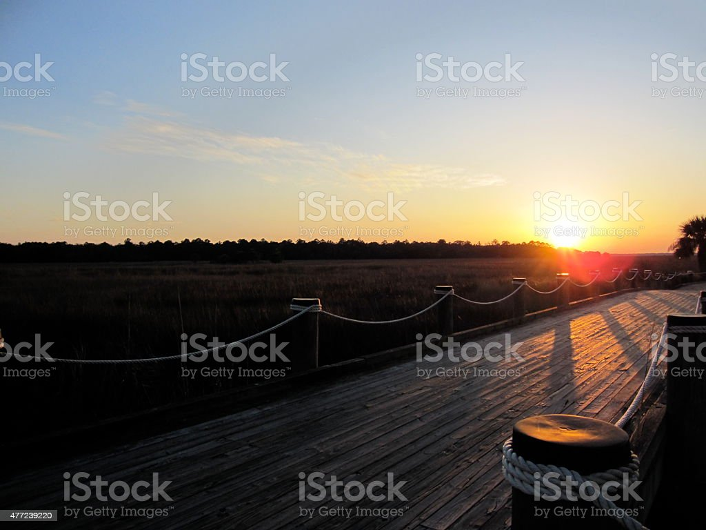 Sunset and Shadows on a Bridge stock photo