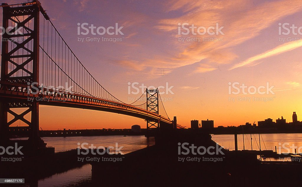 Sunset and silhouette of bridge between Camden and Philadelphia Pennsylvania stock photo