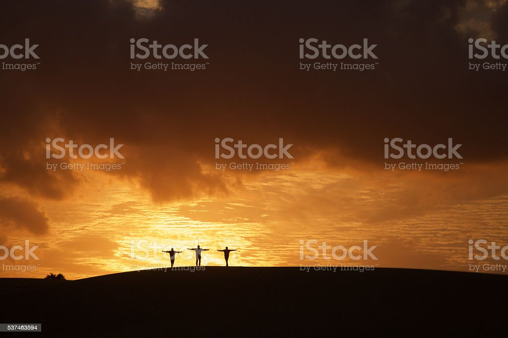 Sunset and silhouettes stock photo