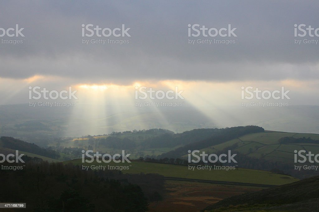 Sunset and Storm Peak District National Park stock photo