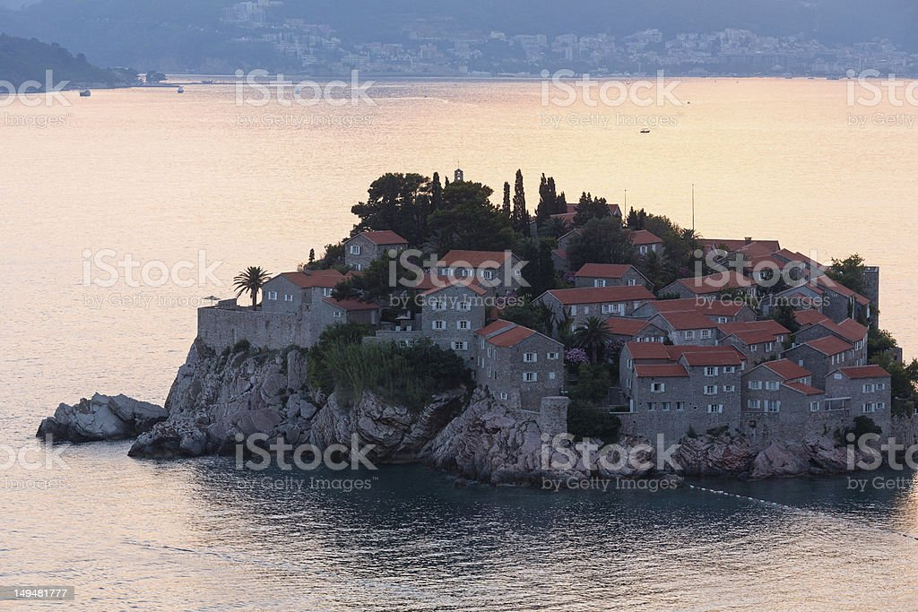 Sunset and Sveti Stefan sea islet (Montenegro) royalty-free stock photo