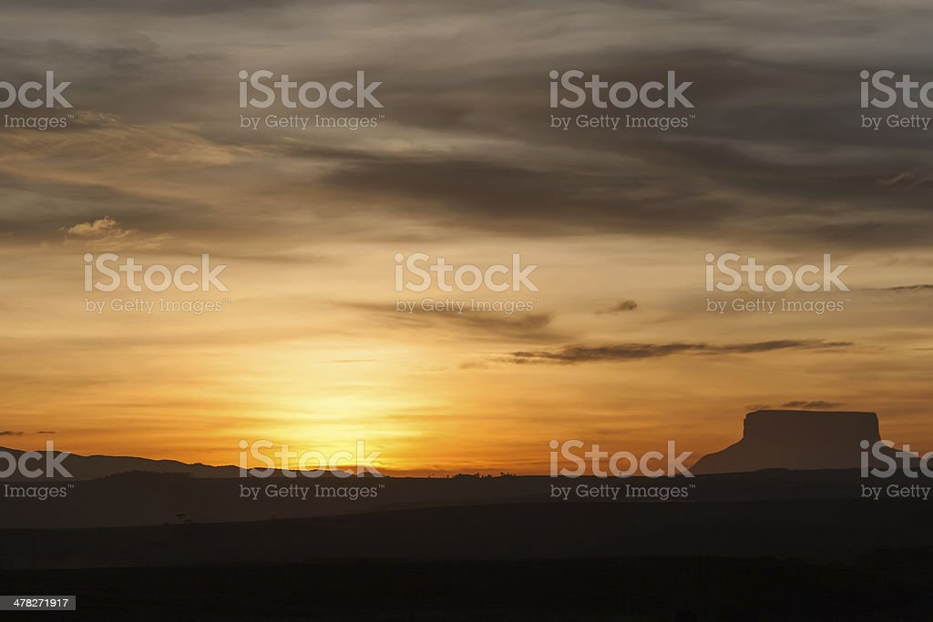 Sunset and tepui stock photo