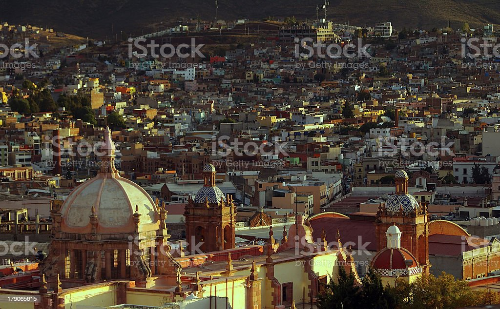 Sunset and the rooftops in Zacatecas stock photo