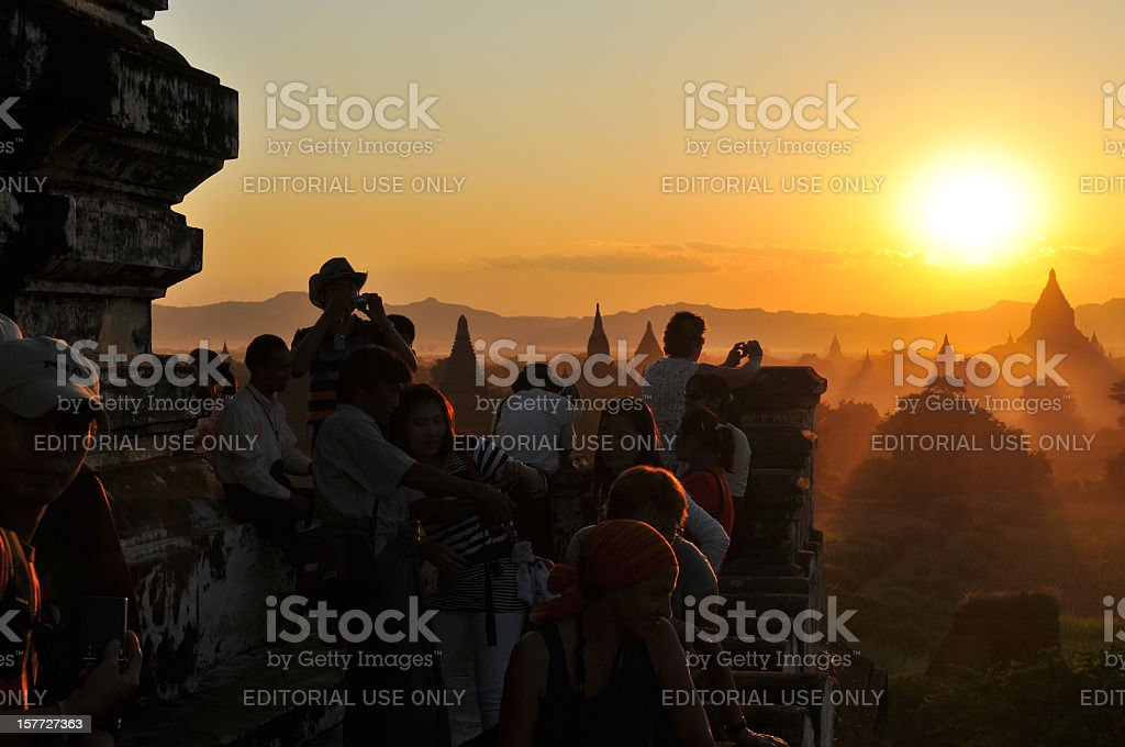 Sunset and tourists in Bagan Myanmar stock photo
