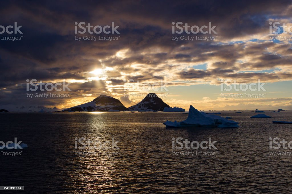 Sunset Antarctic peninsula stock photo