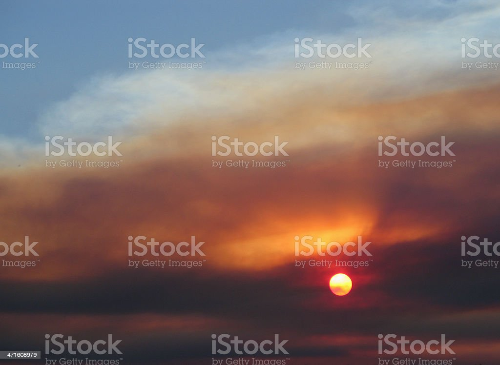 Sunset Arizona Clouds Smoke royalty-free stock photo