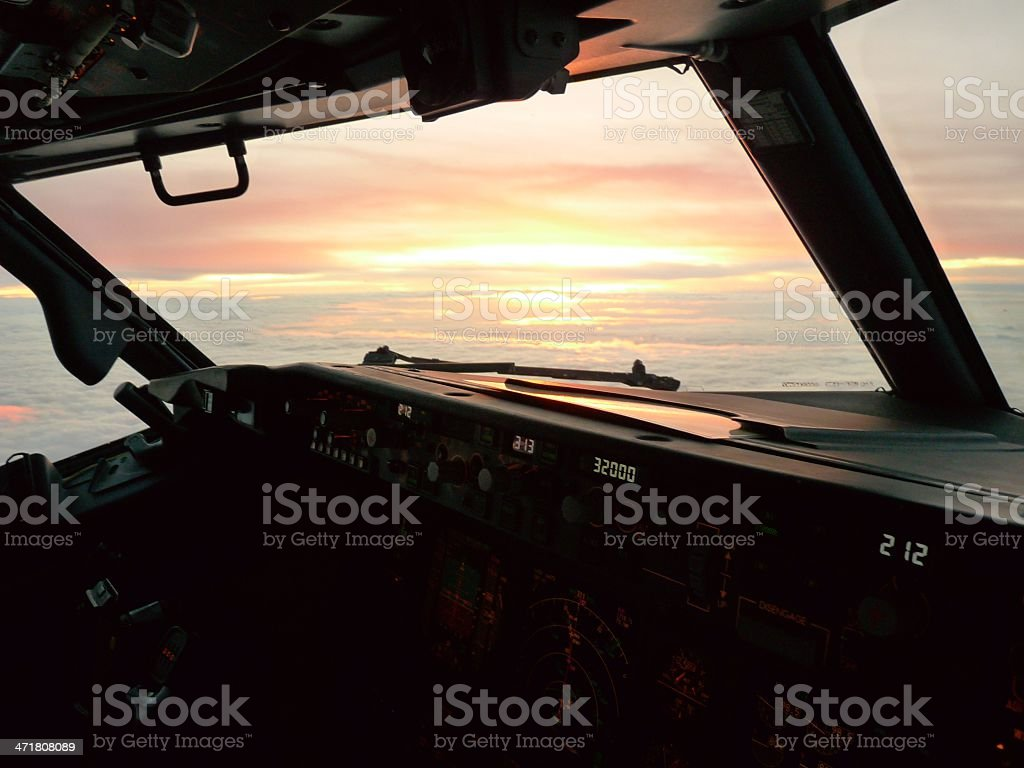 Sunset as seen from cockpit royalty-free stock photo