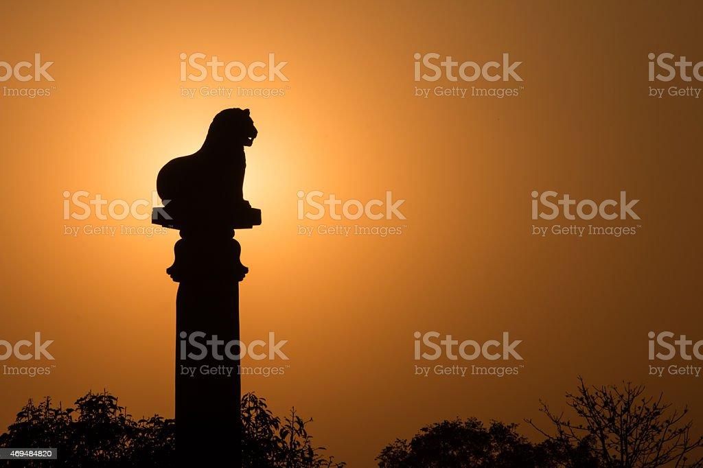 sunset Ashoka pillar at Kutagarasala stock photo