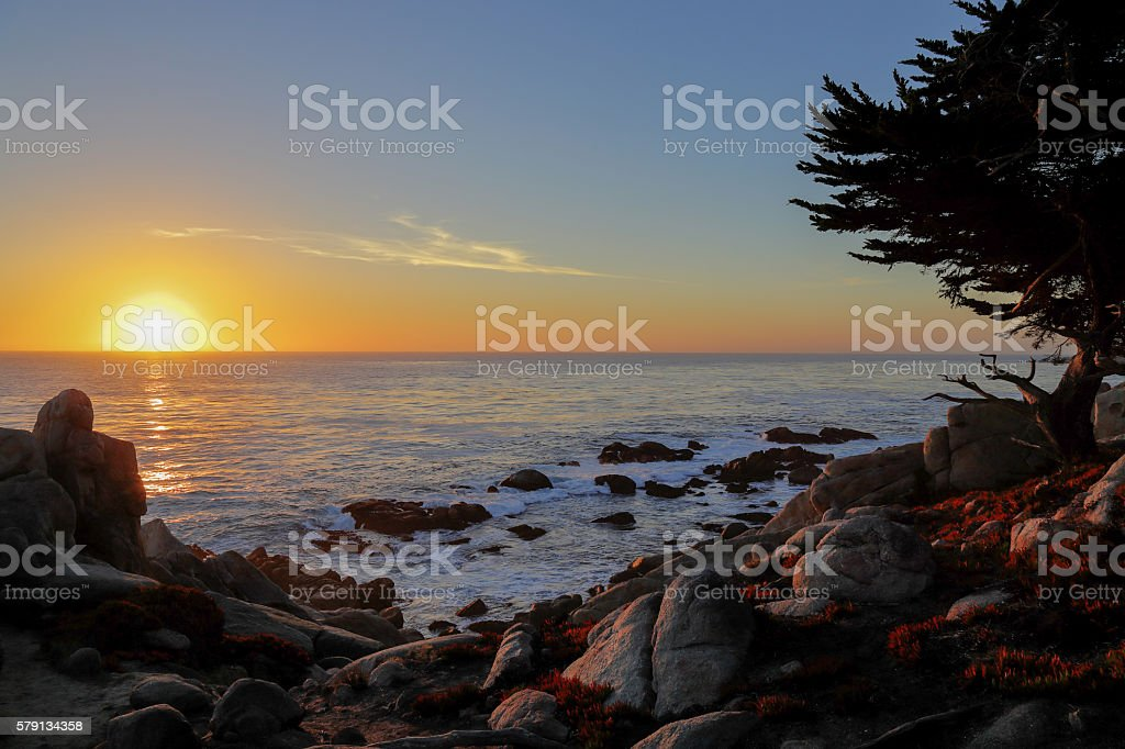 sunset at 17-mile drive, Pebble beach, California stock photo