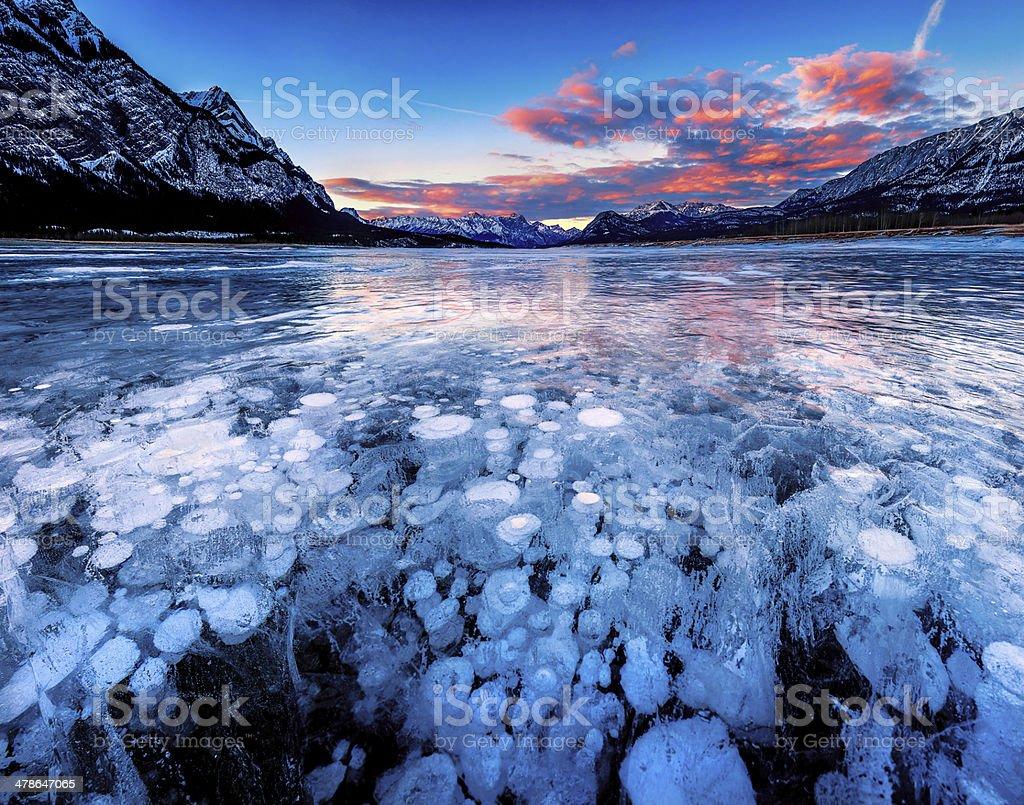 Sunset at Abraham Lake stock photo