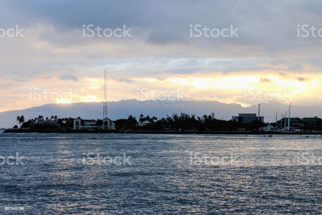 Sunset at Ala Moana Bay stock photo