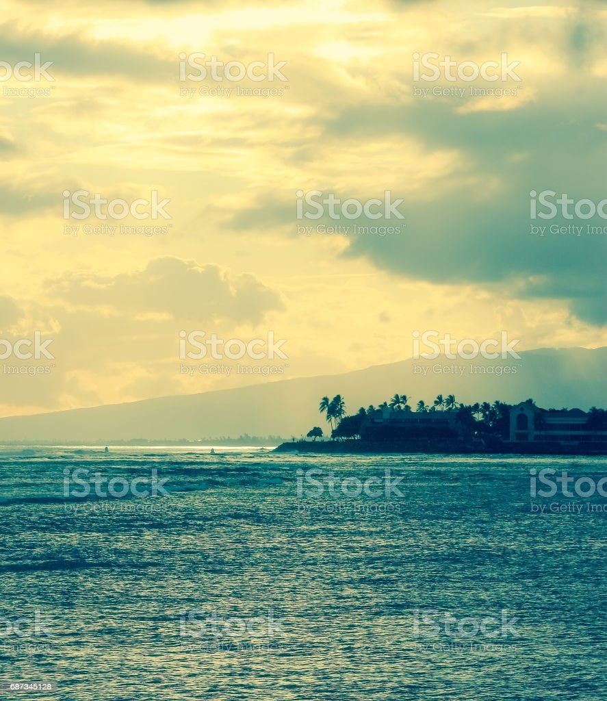 Sunset at Ala Moana Beach, Honolulu, Hawaii stock photo