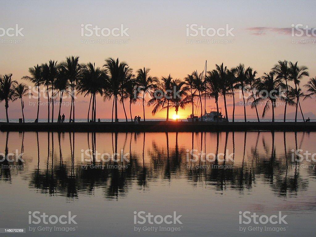 Sunset at Anaehoomalu Bay stock photo