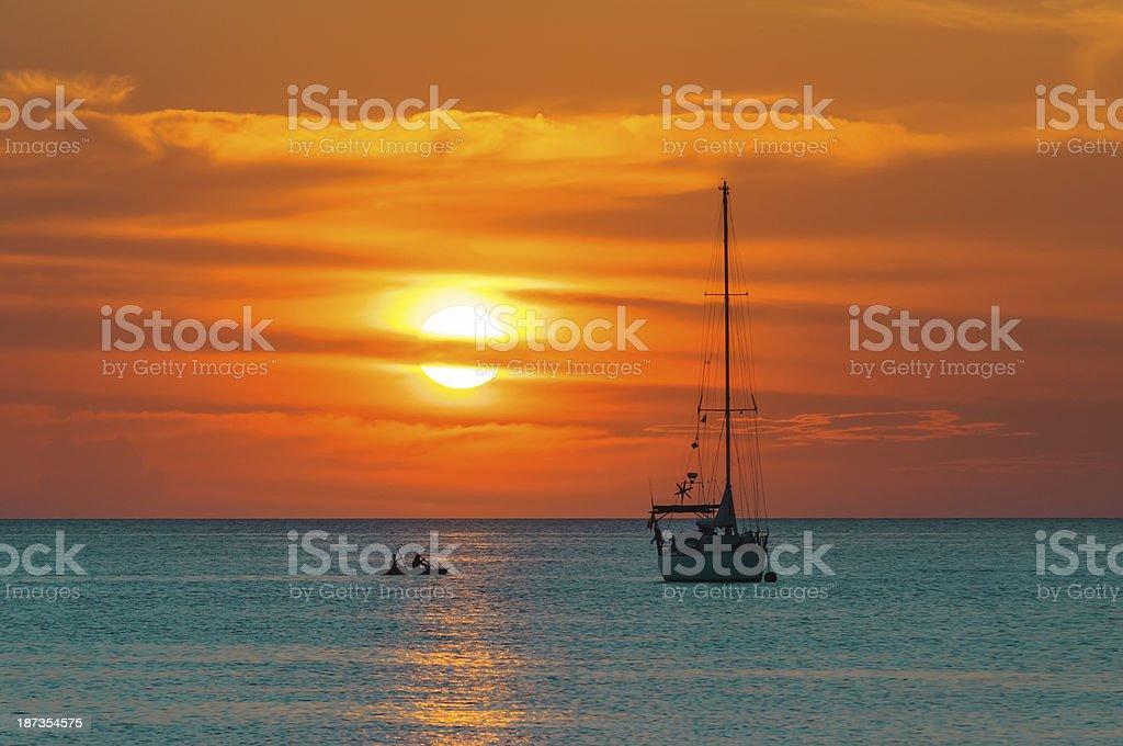 Sunset at Andaman Sea. stock photo