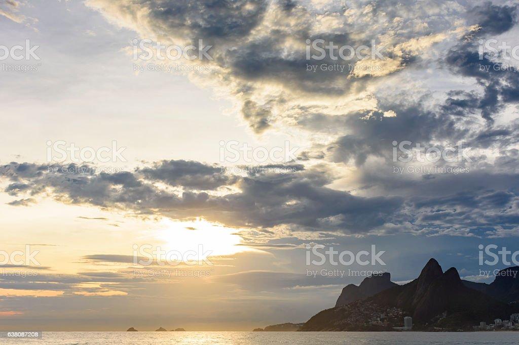 Sunset at Arpoador beach in Ipanema, Rio de Janeiro stock photo