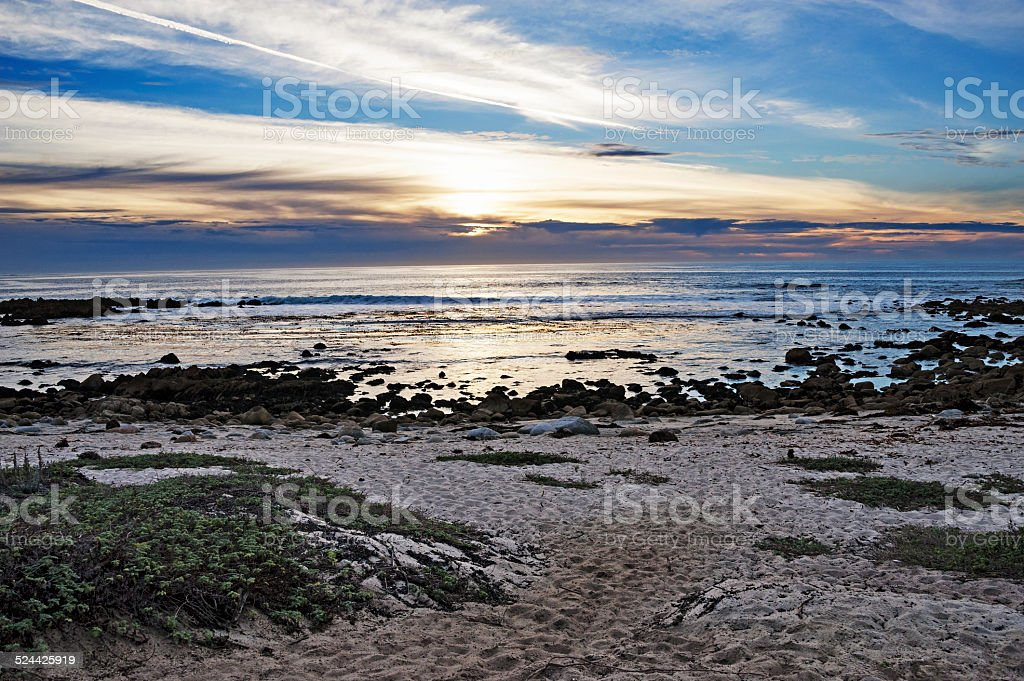 Sunset at Asilomar St Reserve from Ocean Drive stock photo
