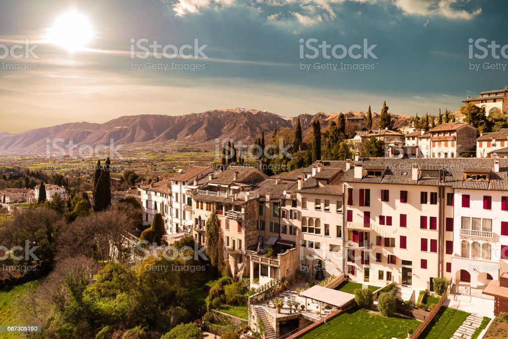 Sunset at Asolo stock photo