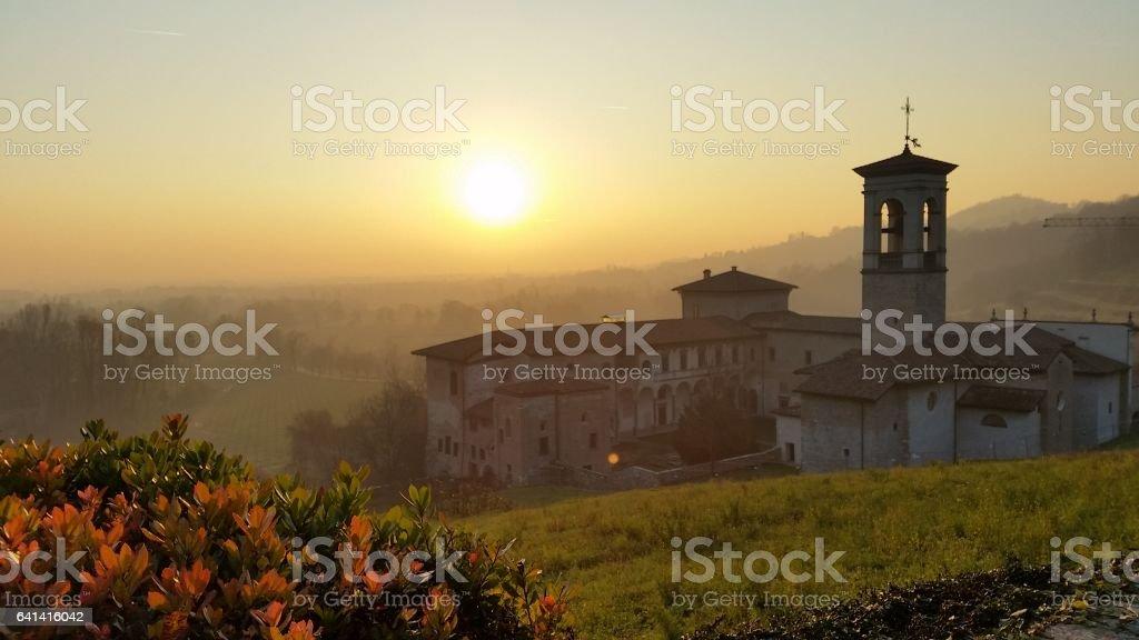 Sunset at Astino monastery stock photo