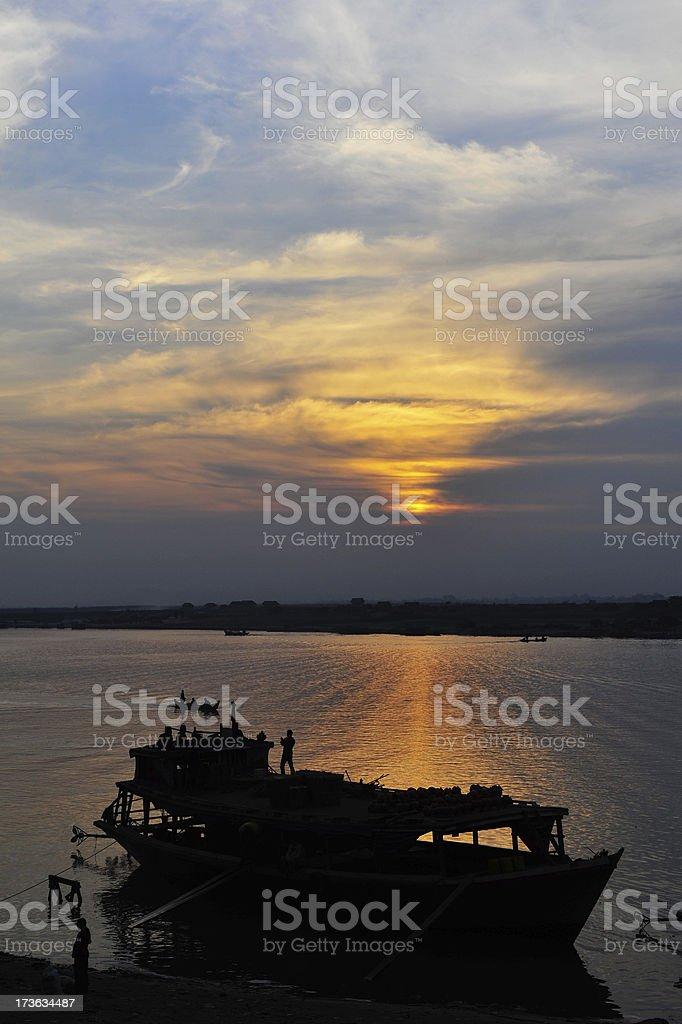 Sunset at Ayeyarwady river stock photo