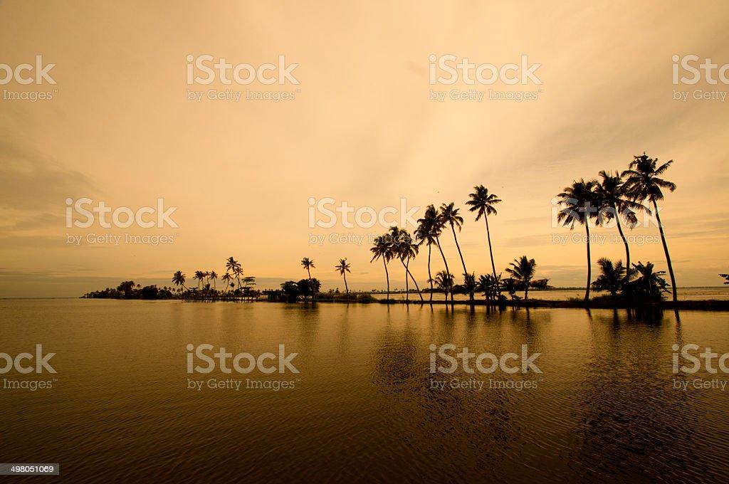 sunset at backwaters of Kerala stock photo