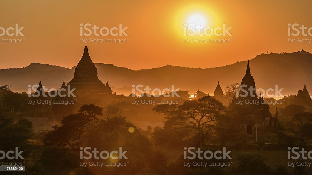Sunset at Bagan stock photo