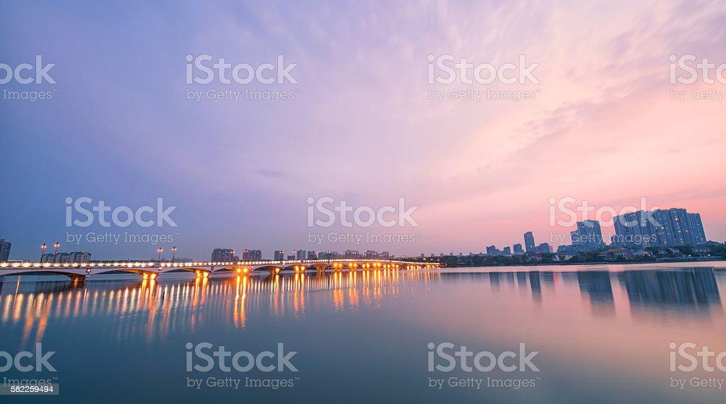 Sunset at Baijia Lake stock photo