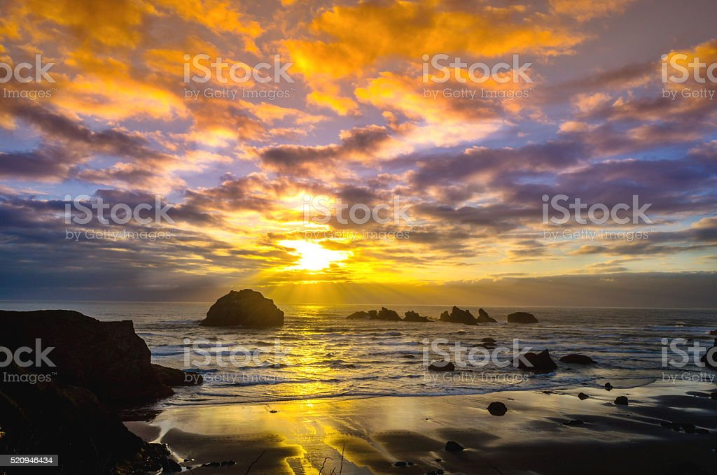 Sunset at Bandon Beach, Oregon stock photo