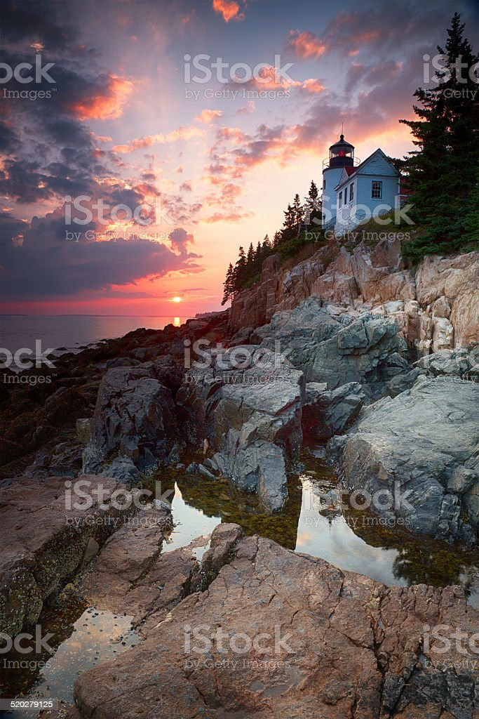 Sunset at Bass Harbor Head Lighthouse stock photo
