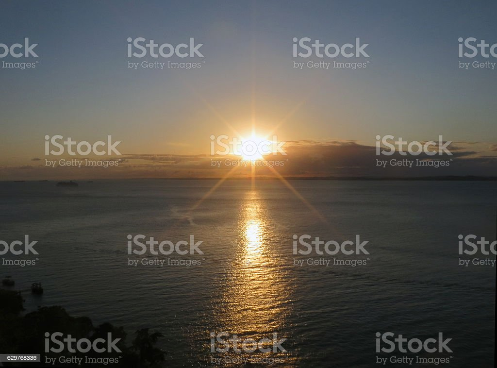 Sunset at Bay of All Saints in Brazil stock photo
