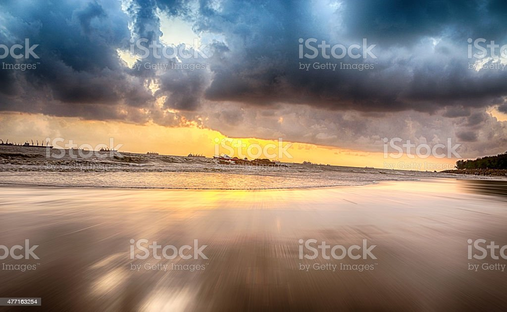 Sunset at Bay of Bangal stock photo