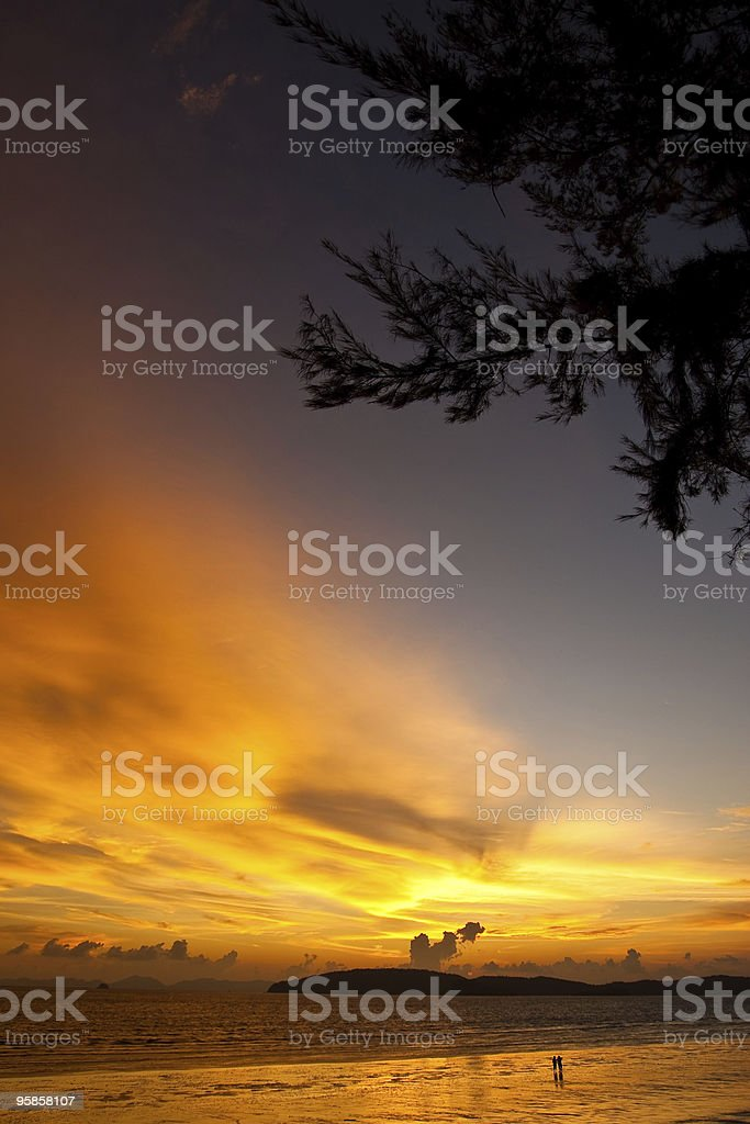 Sunset at beach of Thailand royalty-free stock photo