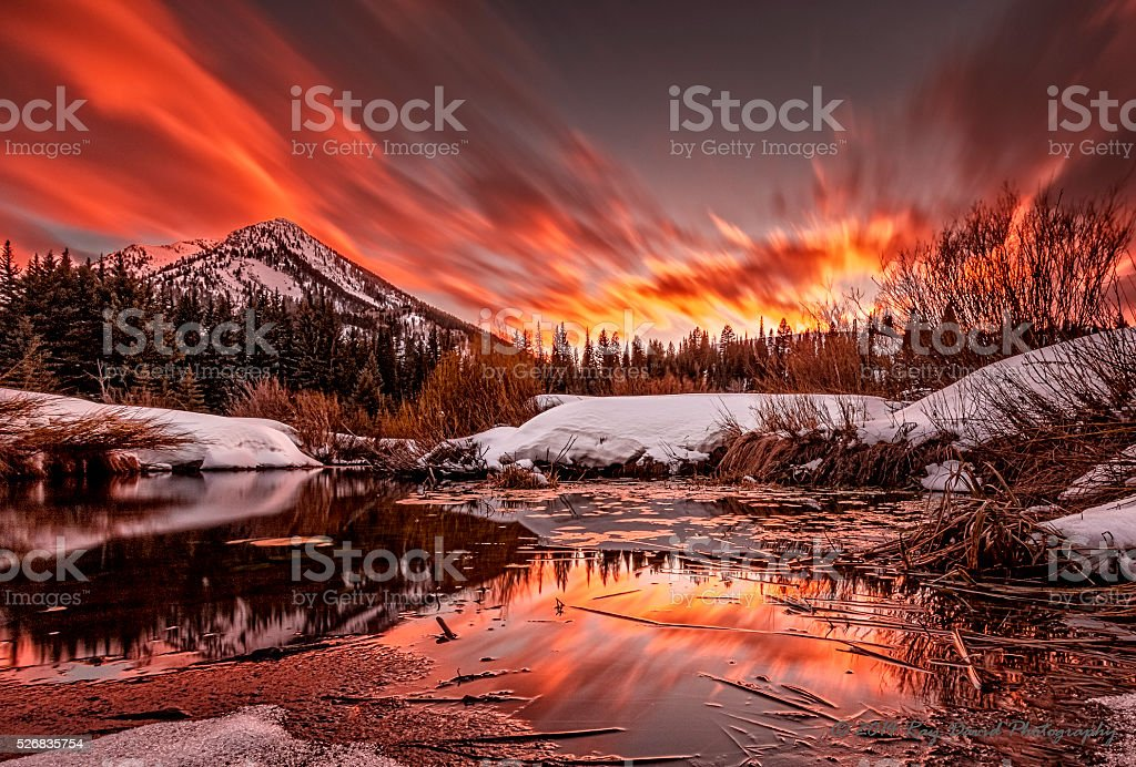 Sunset at Big Cottonwood Canyon stock photo