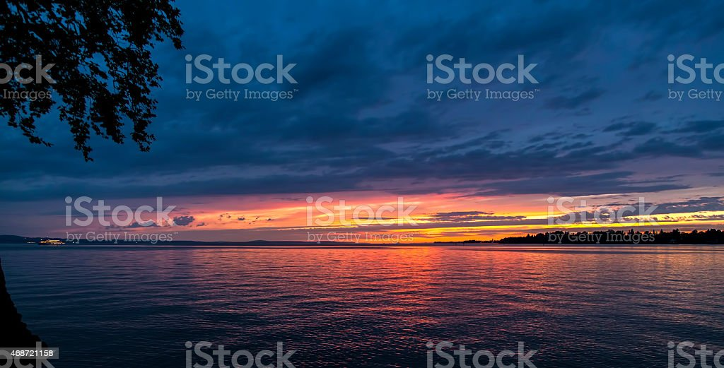Sunset at bodensee royalty-free stock photo