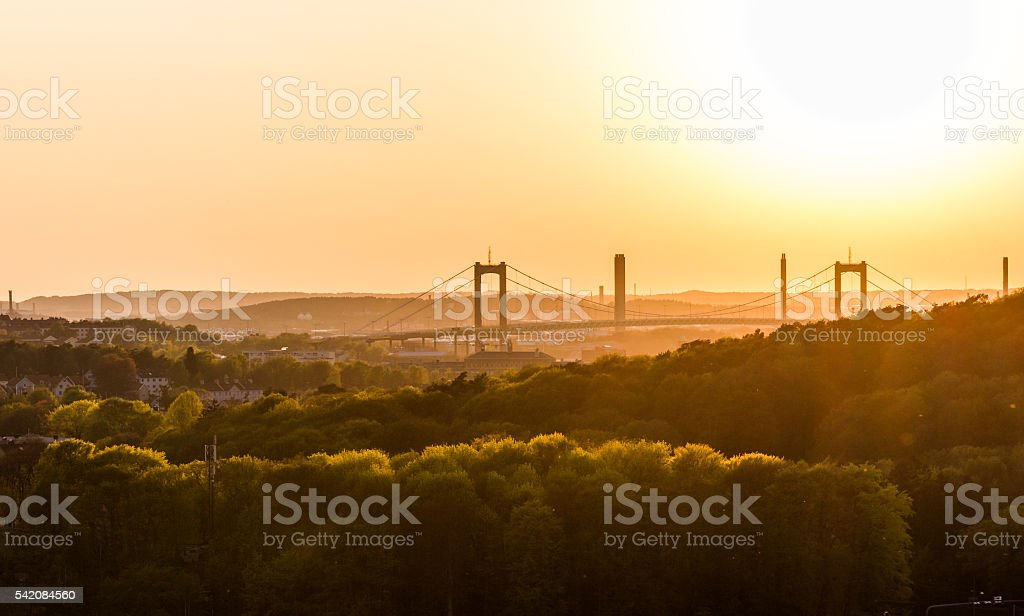 Sunset at botanic garden - Gothenburg, Sweden. stock photo