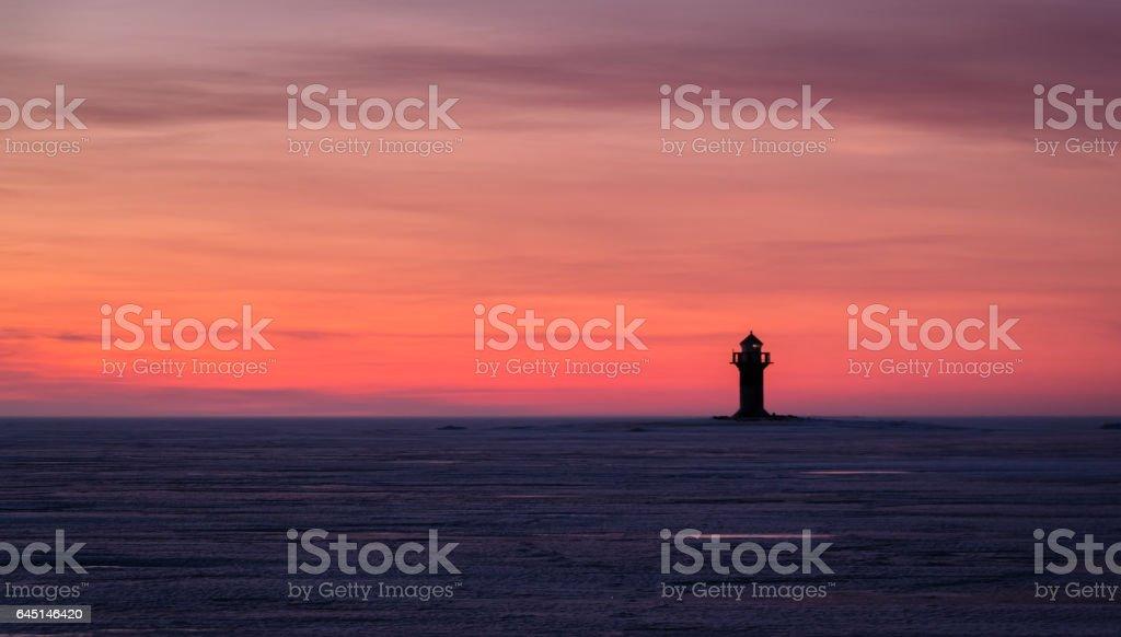 Sunset at Bothnian Bay stock photo