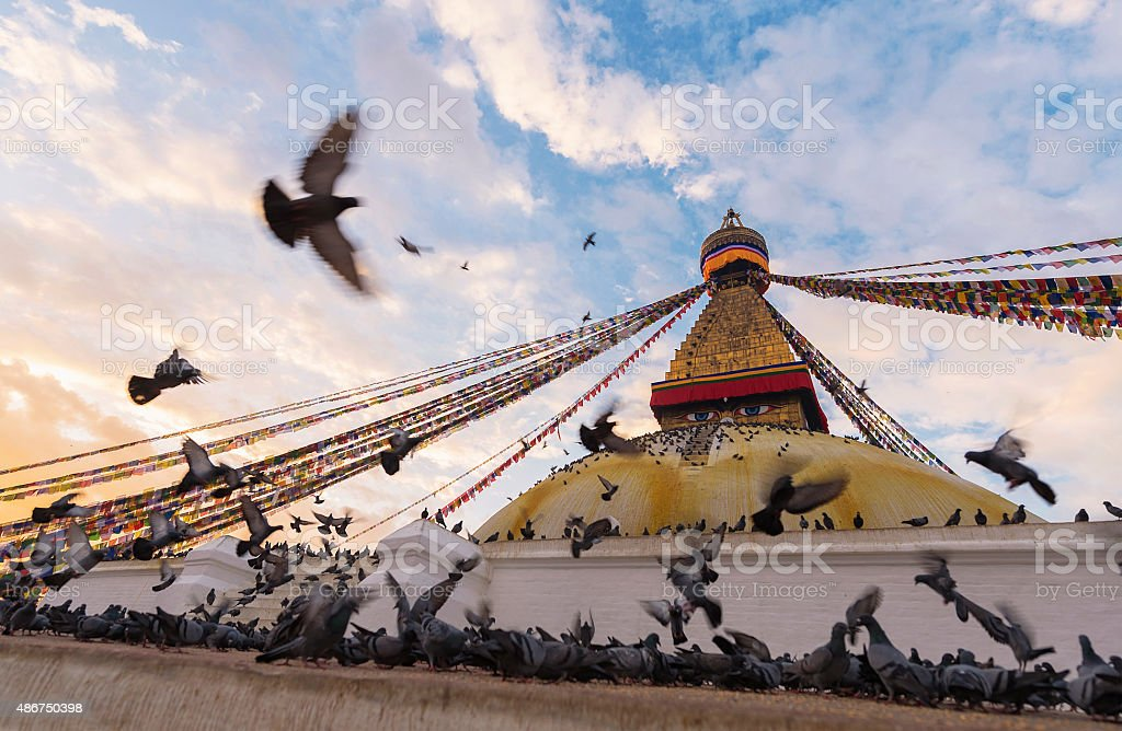 Sunset at Boudhanath stupa kathmandu ,Nepal stock photo