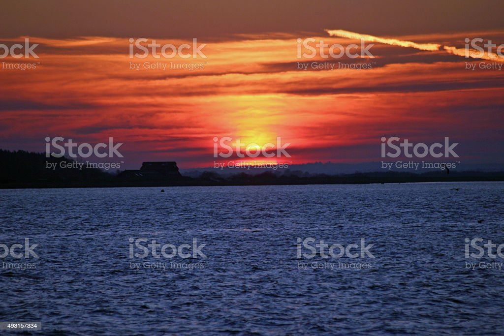 Sunset at Brightlingsea stock photo